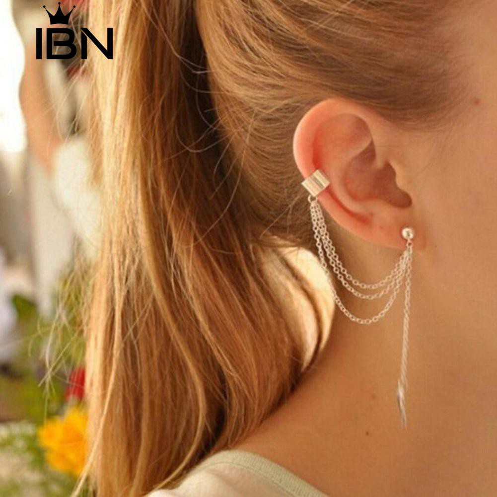 √COD Ibn Women Punk Rock Leaf Chain Tassel Dangle Ear Cuff Wrap Earrings  Ear Clip