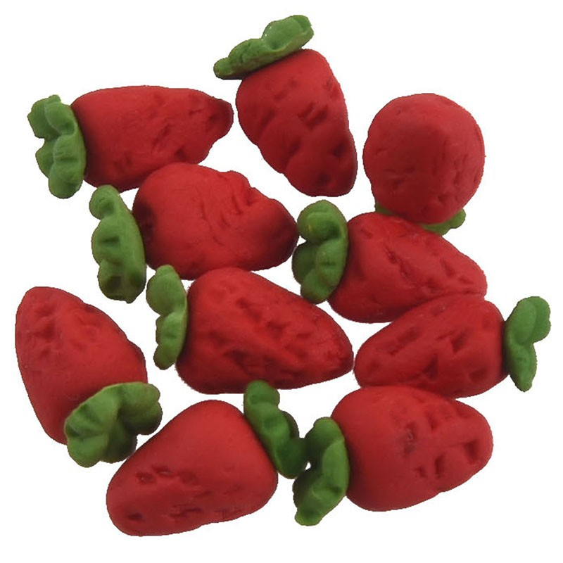 Dollhouse Miniature Set of 12 Small Red Strawberries// Miniature Fruit//Doll Food
