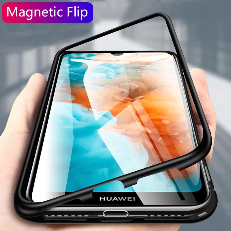 Huawei Y6 Pro Y7 Pro Y6 Y7 Prime Y9 2019 Phone Case Magnetic Flip Metal