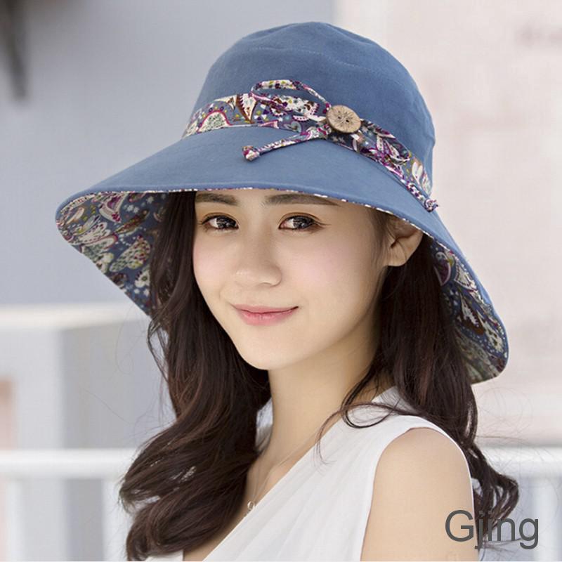 d02bcf10250a3 gongjing2 Women Summer Beach Travel Bowknot Wide Brim Sun Hat Reversible  Foldable Cap PH
