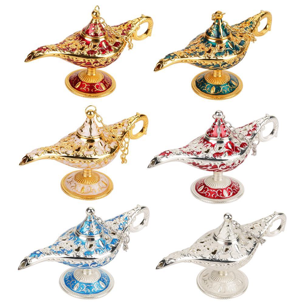 3D Metal Carved Legend Lamp Aladdin Genie Light Wish Pot Dress Decor Golden