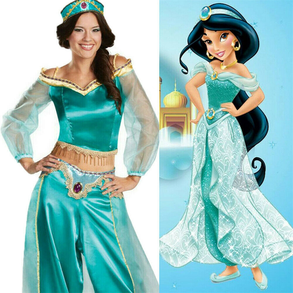 Aladdin Jasmine Princess Costume Arabian Dress for Halloween Cosplay Women Girls