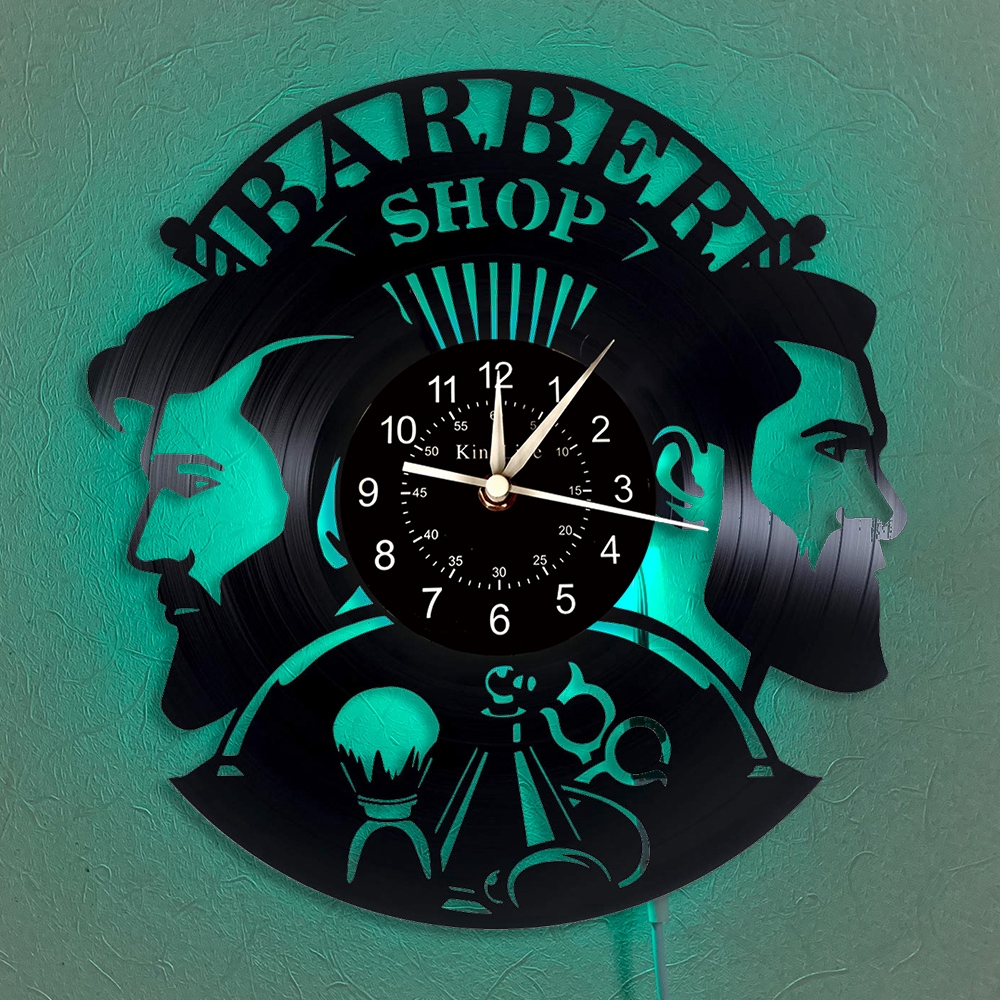 Barber Shop Vinyl Record Wall Clock 12 Inch Led Clock Hair Salon Wall Decoration Hanging Lamp 7 Color Luminous Wall Clock Shopee Philippines