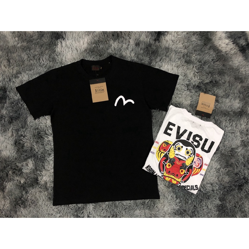 8ee28167d493 Unisex New Evisu Print Couples Cotton Short-sleeved T-shirt