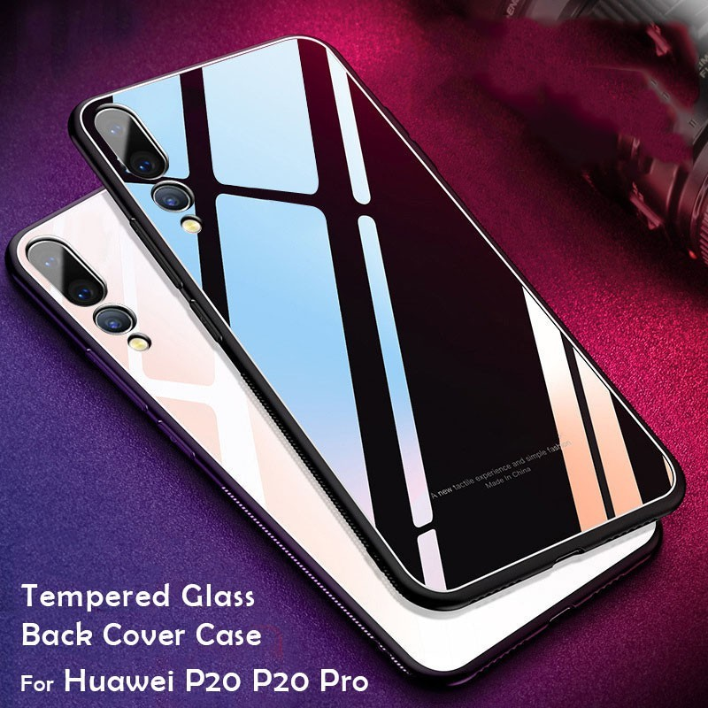 buy online b0153 6f6ec Huawei P20 P20 Pro TPU +9H Tempered Glass Back Cover Case