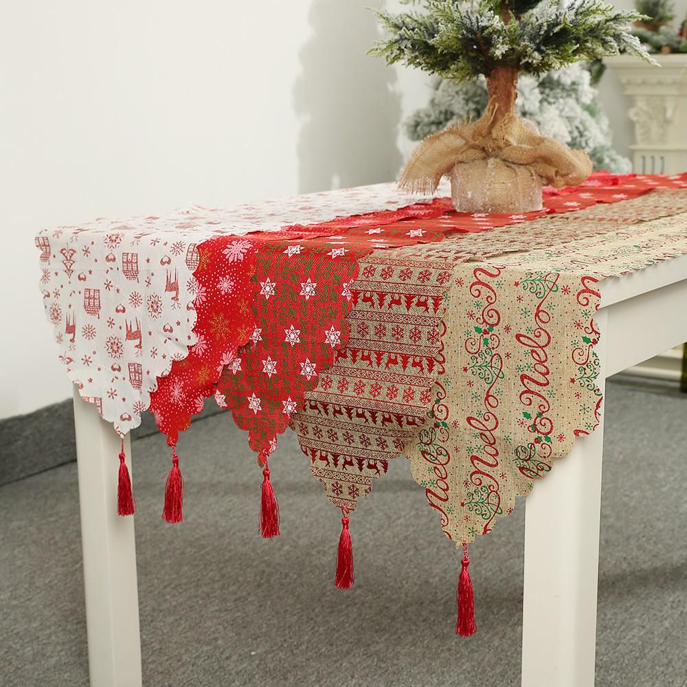Christmas Tree Napkin Pattern: 35x180cm Christmas Decor Table Runner Xmas Tree Snow Elk