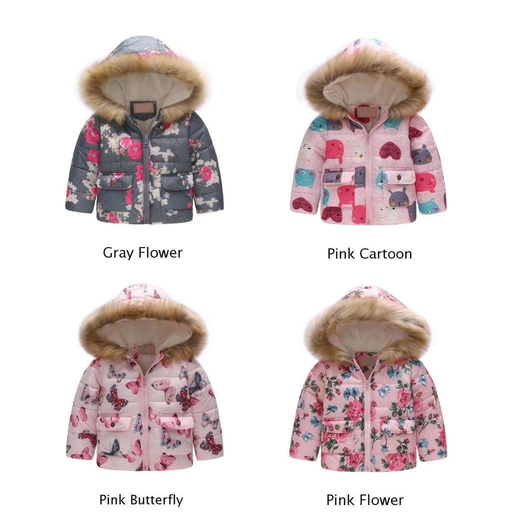 Girls Jacket Coat Outwear Parka Faux Fur Hooded Floral Butterfly Warm Padded