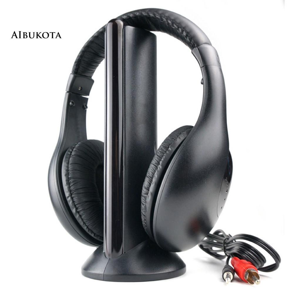AIB-5 in 1 Hi-Fi FM Radio Wireless Headphones Headsets for TV DVD MP3 CD  MP4 PC