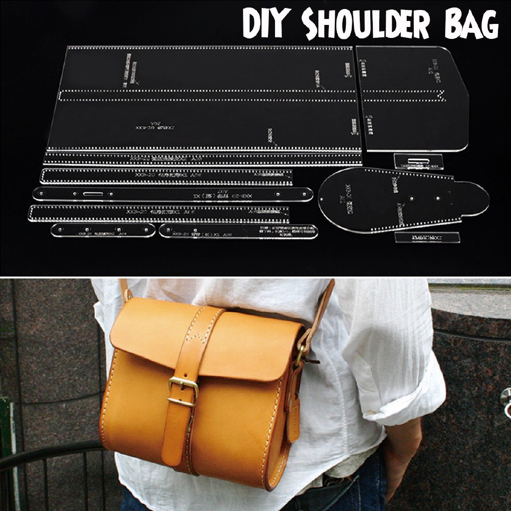 6Pieces DIY Leather Craft Acrylic Shoulder Bag Pattern Stencil Template Tool
