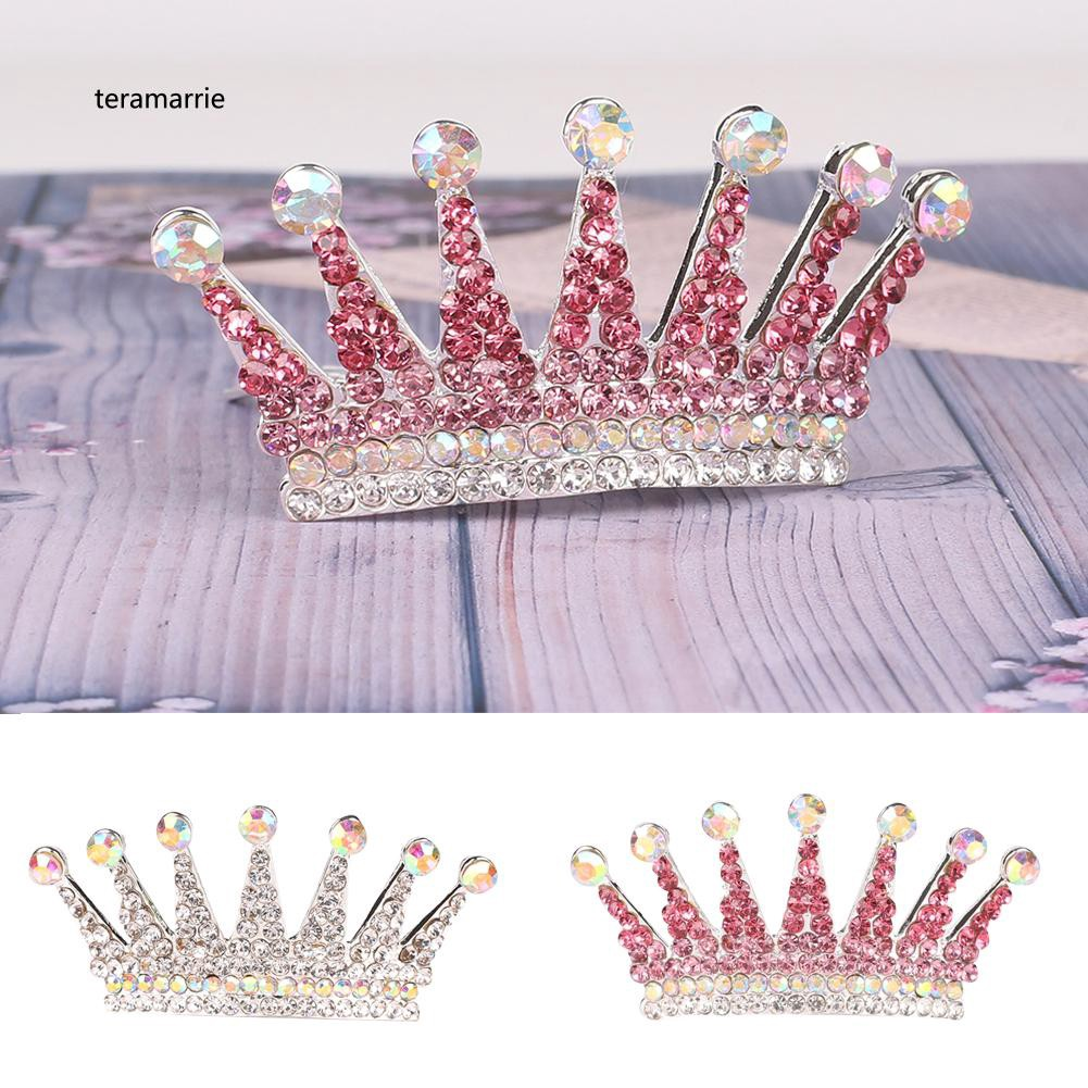 Crystal Rhinestone Hair Jewelry Crown Hairpin For Girls Kids Gift Hair Comb