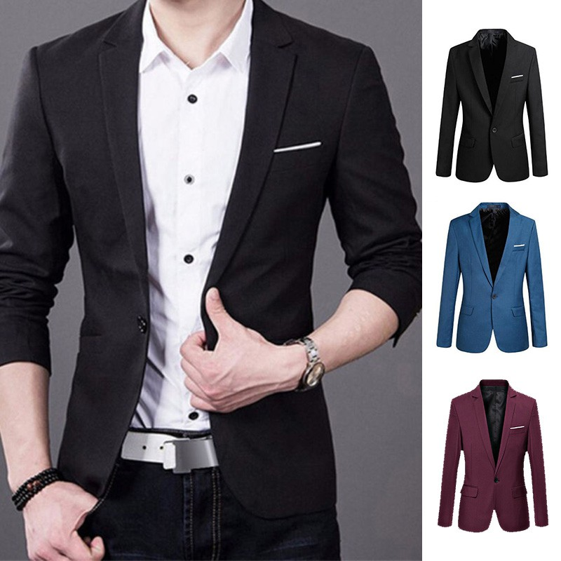 formal men s slim fit suit blazer business coat jacket tops shopee