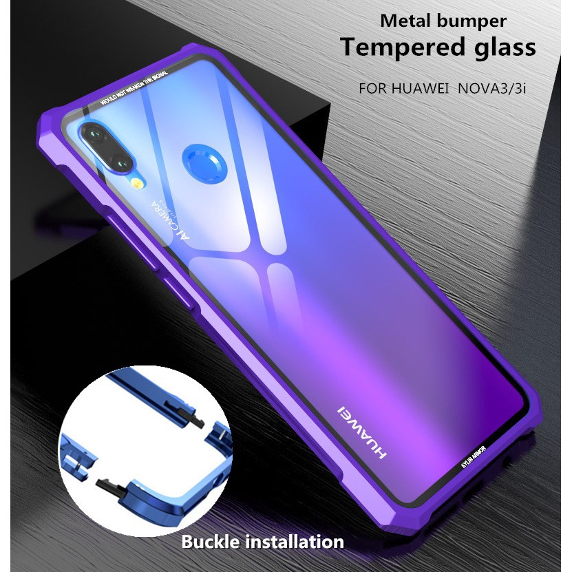 quality design ffa66 989c0 Huawei Nova 3 / Nova 3i Metal bumper + glass back cover case