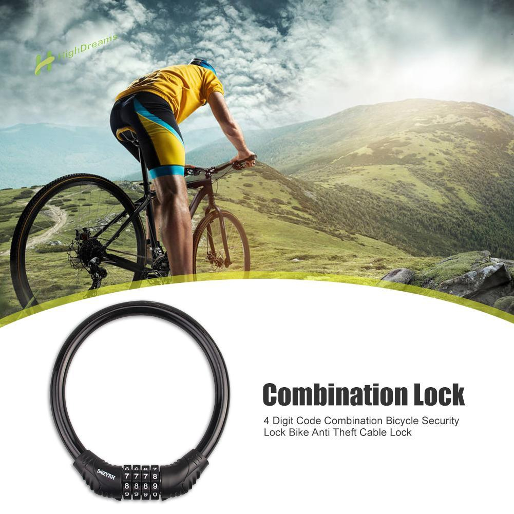 Security 4 Digit Combination Bike Cable Lock Anti Theft Bicycle Password Locks