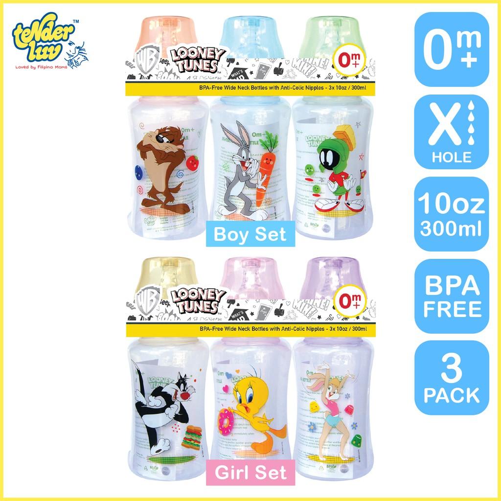 Looney Tunes 10oz Wide Neck Feeding Bottle Set of 3
