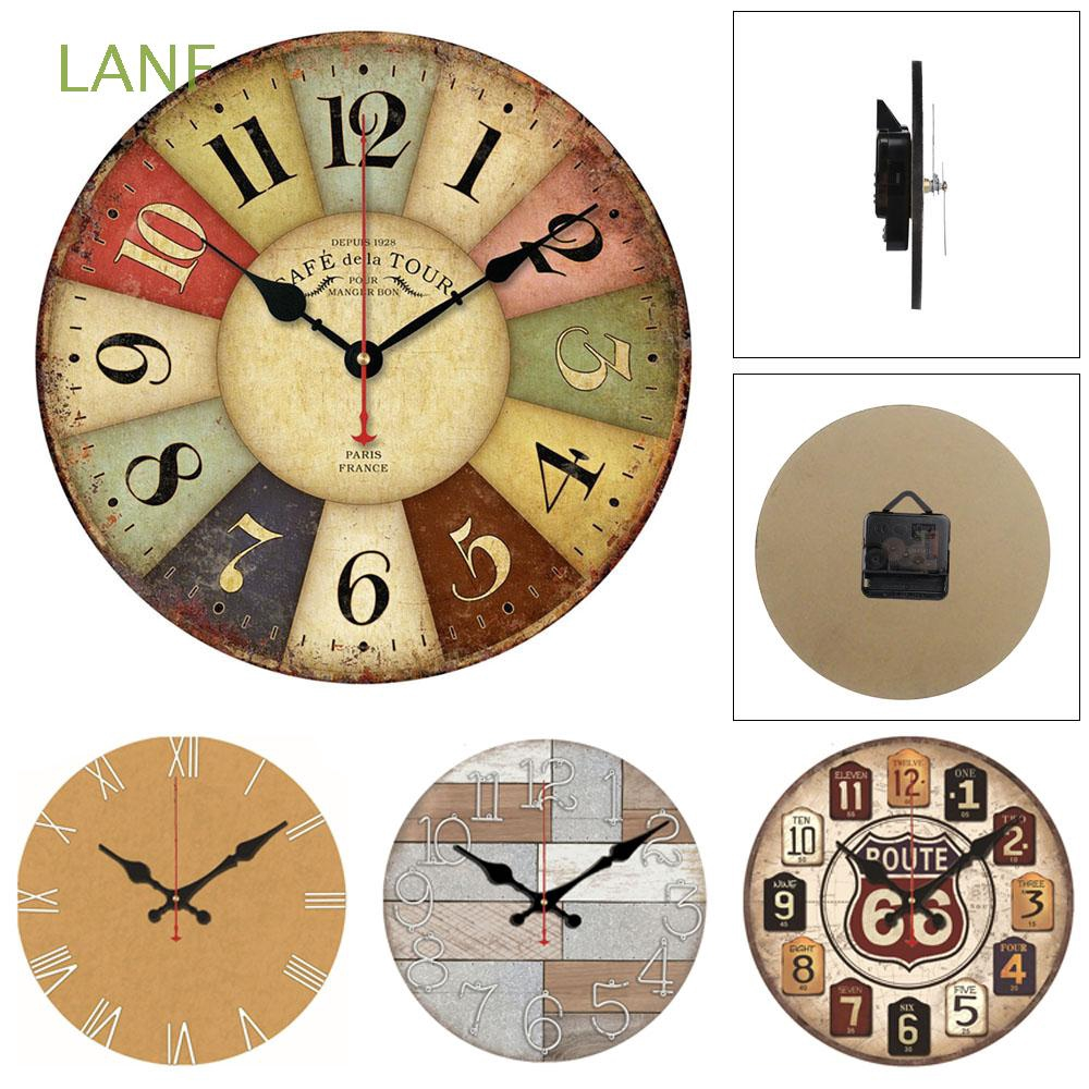 1pc Wall Clock Wooden Round Quartz Clock for Living Room Bedroom without Battery