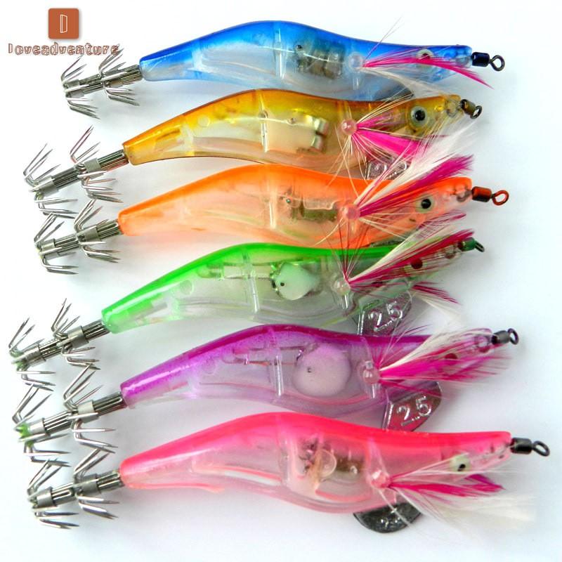 1 PCS Flashing LED Light Shrimp Fishing Lures Baits Squid Jigs Hooks Tackle Lots
