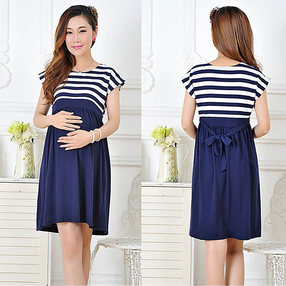 7189a8f03868f ProductImage. ProductImage. Fashion Stripe Pregnant Women Dress Short Sleeve  Cotton Loose Casual Maternity