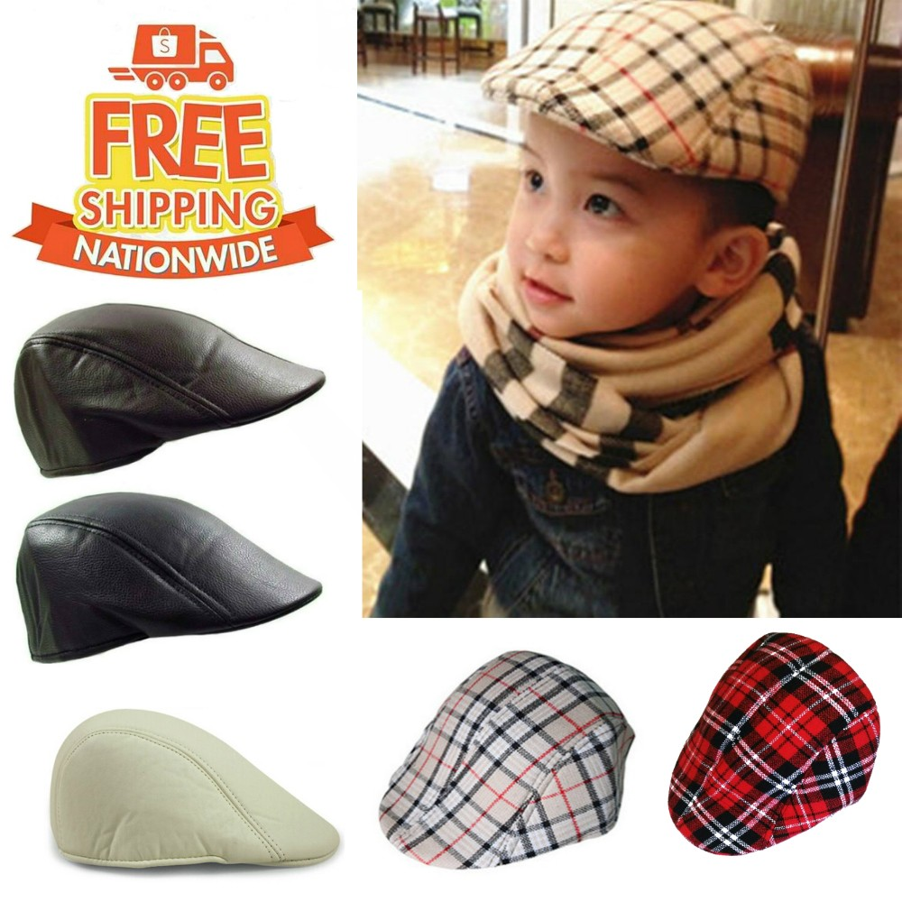 16628a9ec85 Kids Checkered Retro Boy Golf Beret