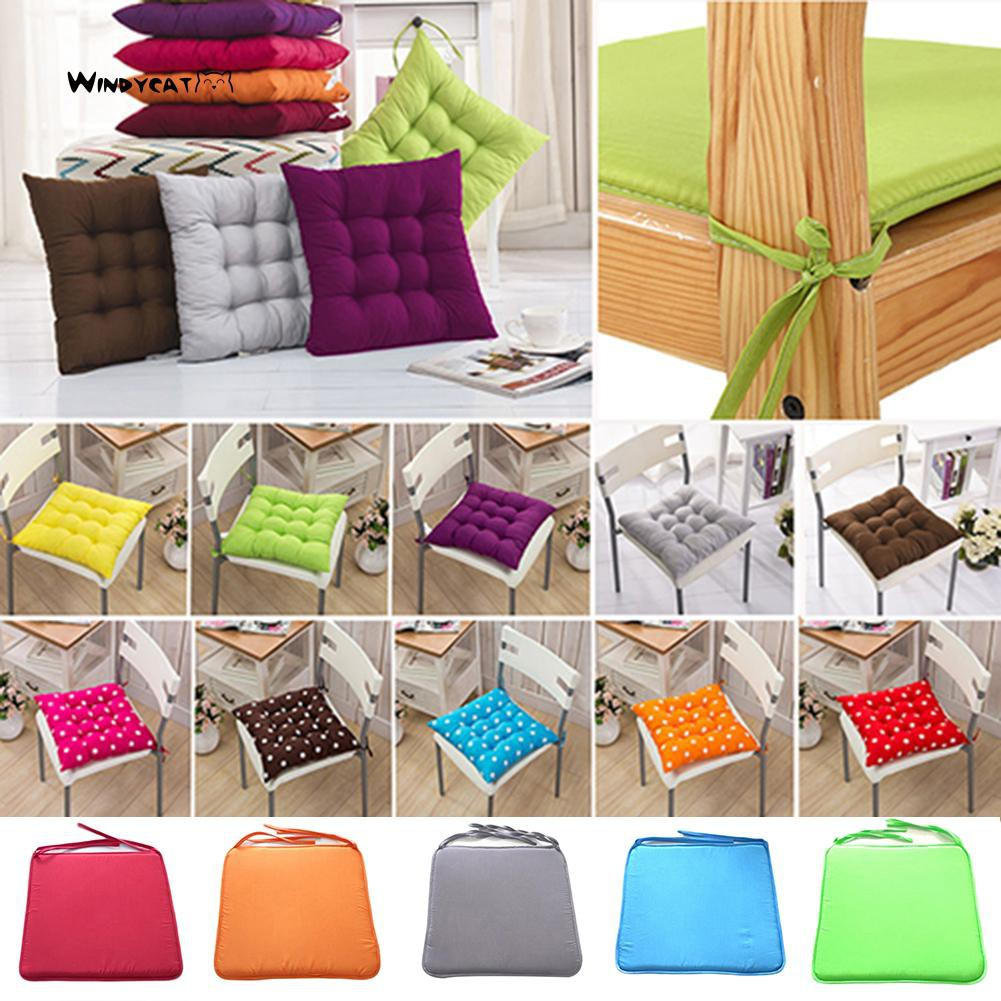 Tie On Chair Cushions Chunky Seat Pad Cover for Kitchen Dining Room Set 1 2 4 6