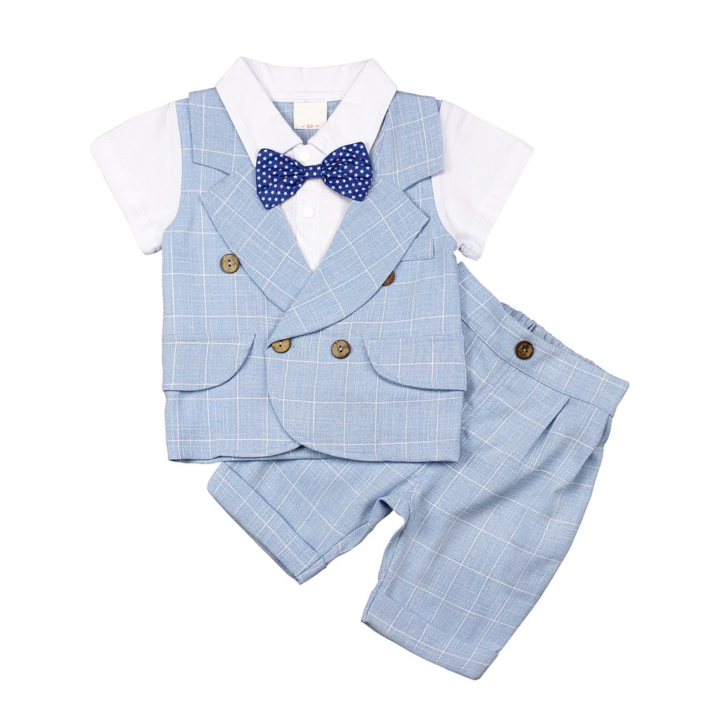 AmzBarley Baby Boys Suits Tuxedo Rompers Suit Bowtie Gentleman Waistcoat Outfit Christening Wedding Outfits Set