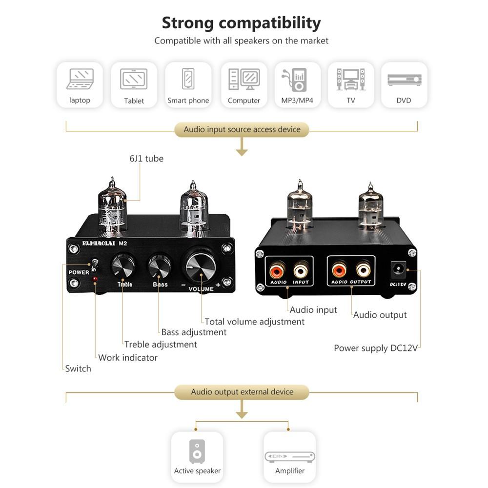 PJ MIAOLAI D2 6J1 Tube Preamp Audio Power Home Amplifier