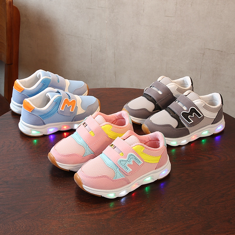 Fashion Cute Baby Child Kid/'s Breathable Sneakers Lights On Student Shoes 22-31