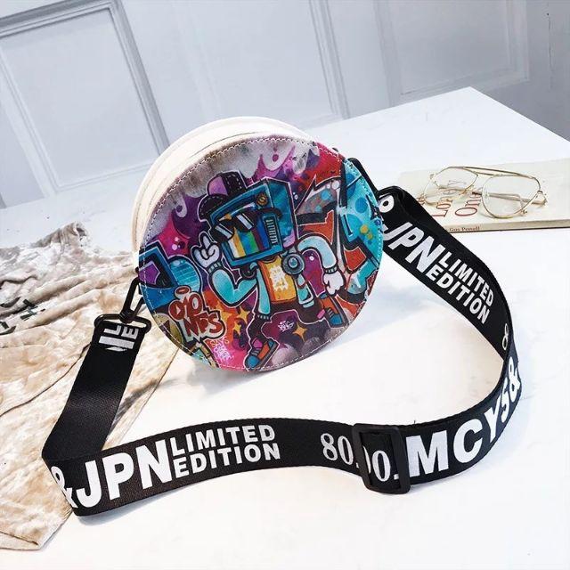 Round Circle Cute Korean Bag Graffiti, Bohemian, Wall Street Sling Shoulder  Bag COD