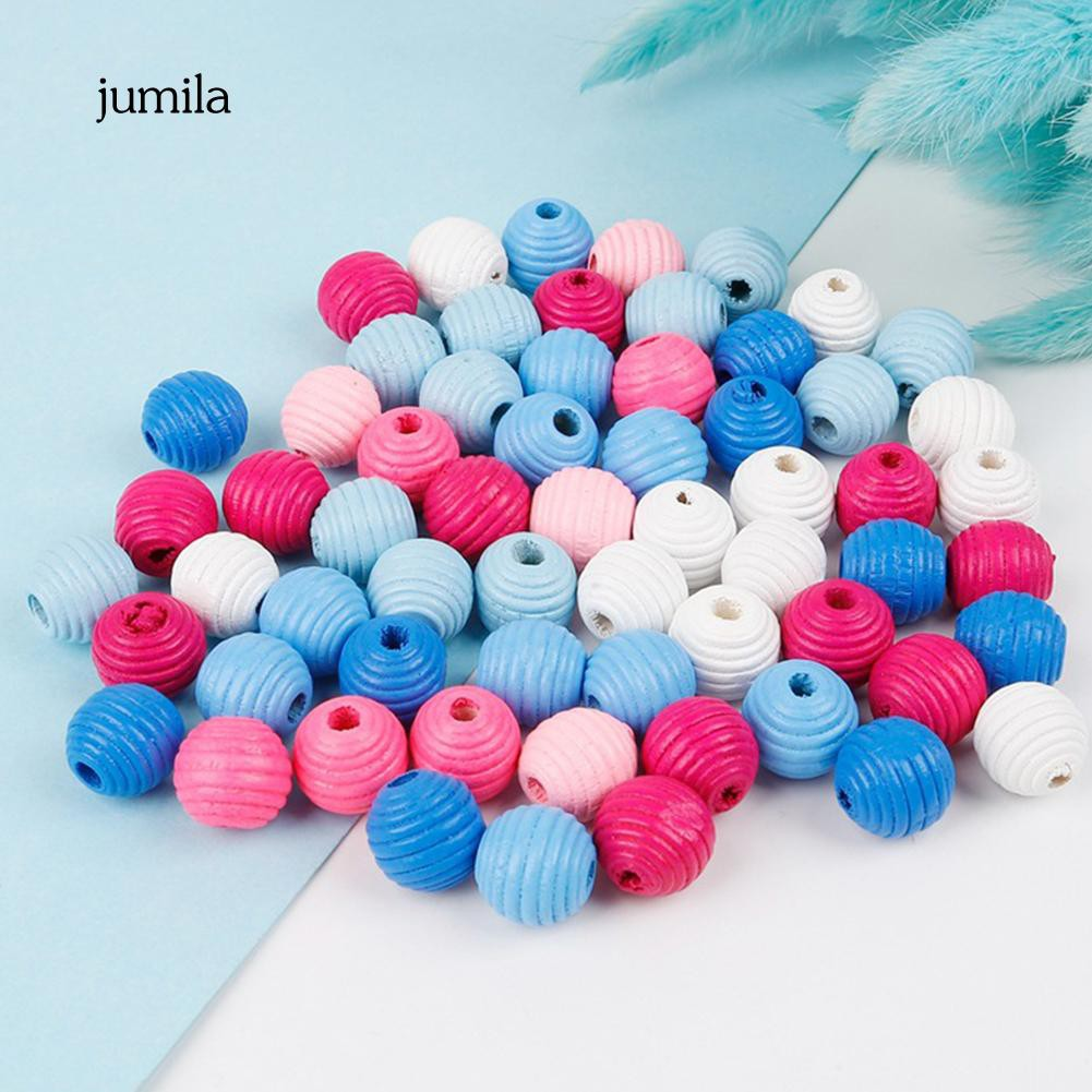 50pcs Gourd Shape Wooden Spacer Stripe Beads for DIY Jewelry Making 19mm
