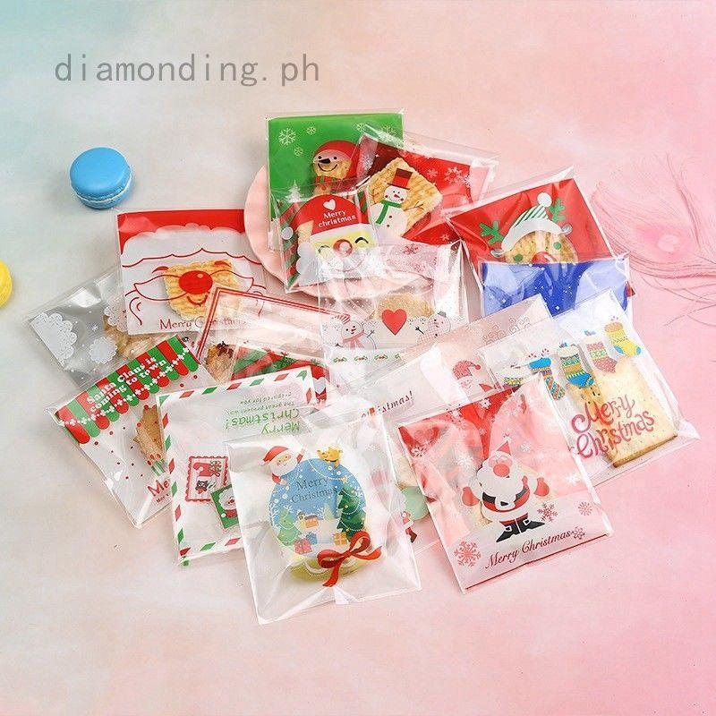 Christmas Cellophane Bags.100 Pcs Christmas Cellophane Bags Sweet Biscuit Cookie Bags