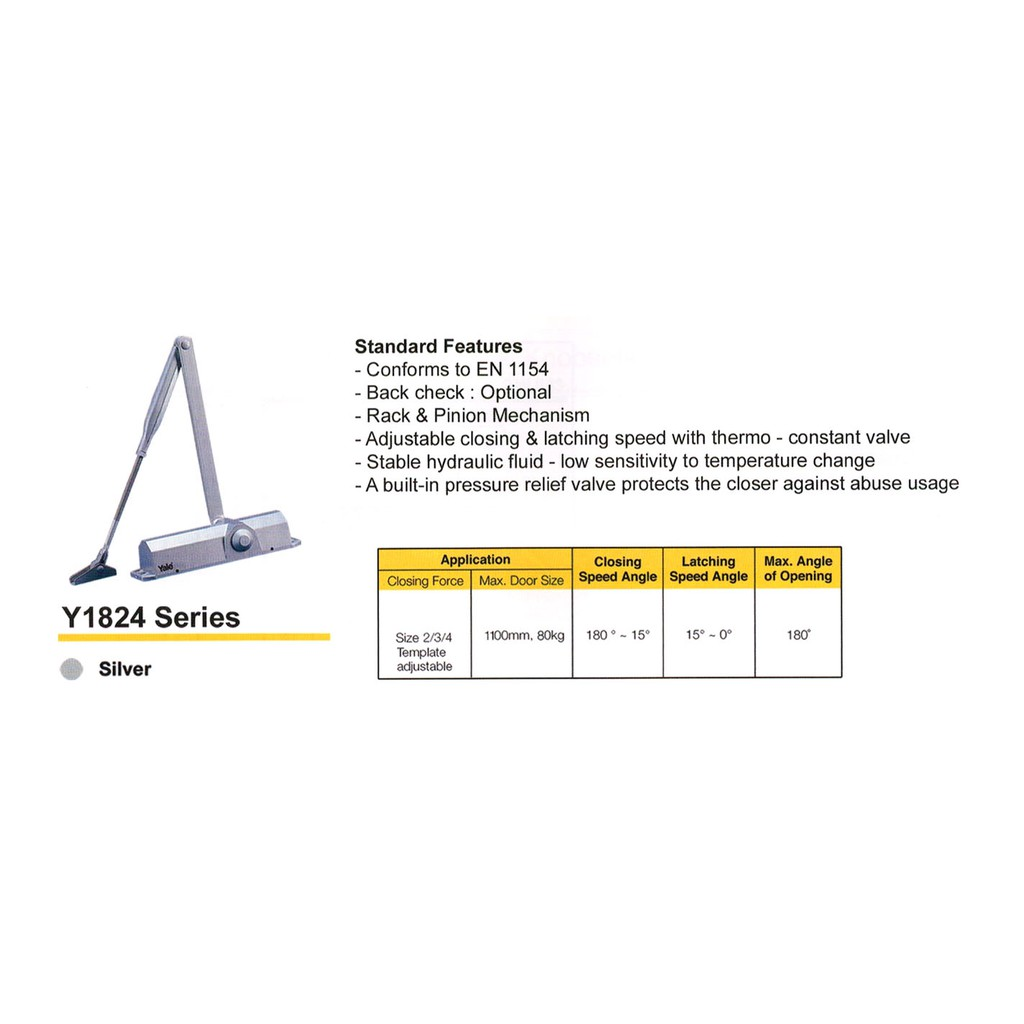 YALE SILVER DOOR CLOSER 1824R SERIES