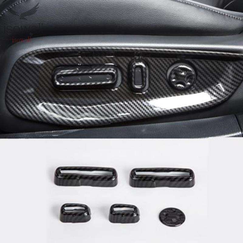 5Pcs For Honda Accord 2018 Carbon Fiber Style Seat Adjustment Button Cover Trim