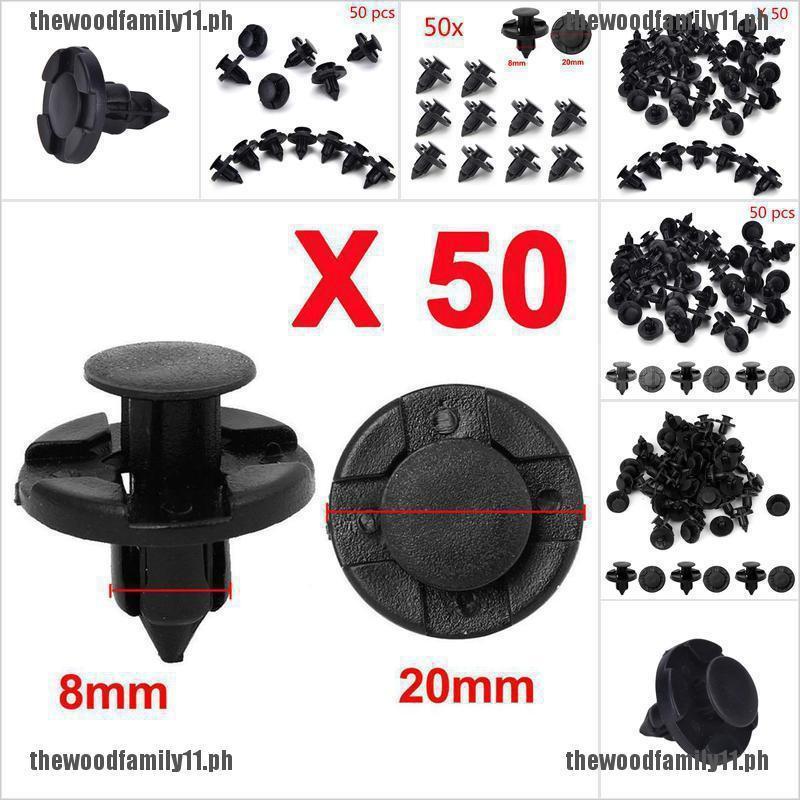 50 Pcs 8mm Hole Plastic Rivets Fastener Push Clips Black for Car Auto Fender