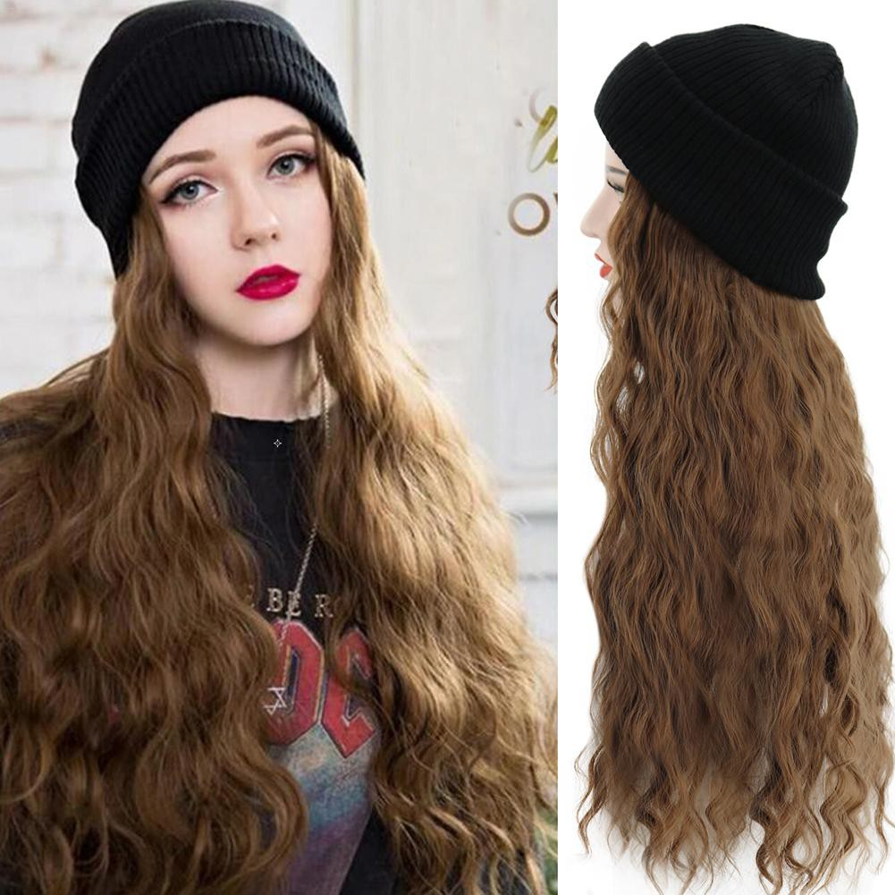 SERDA Synthetic Wig with Beanie Wool Hat Fashion Wig Hats with Hair  Extensions Brown Hair Attached for Women | Shopee Philippines