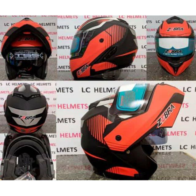 Zebra Modular Helmet Matte Black Red