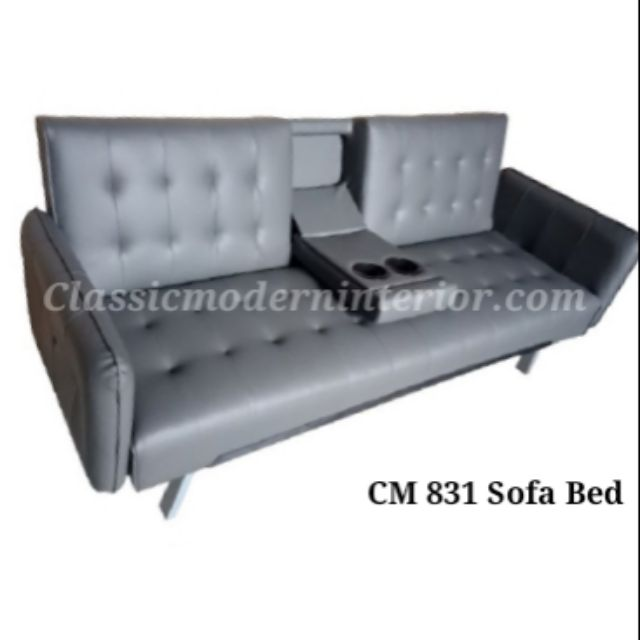 Cm 831 Sofa Bed Leather Grey