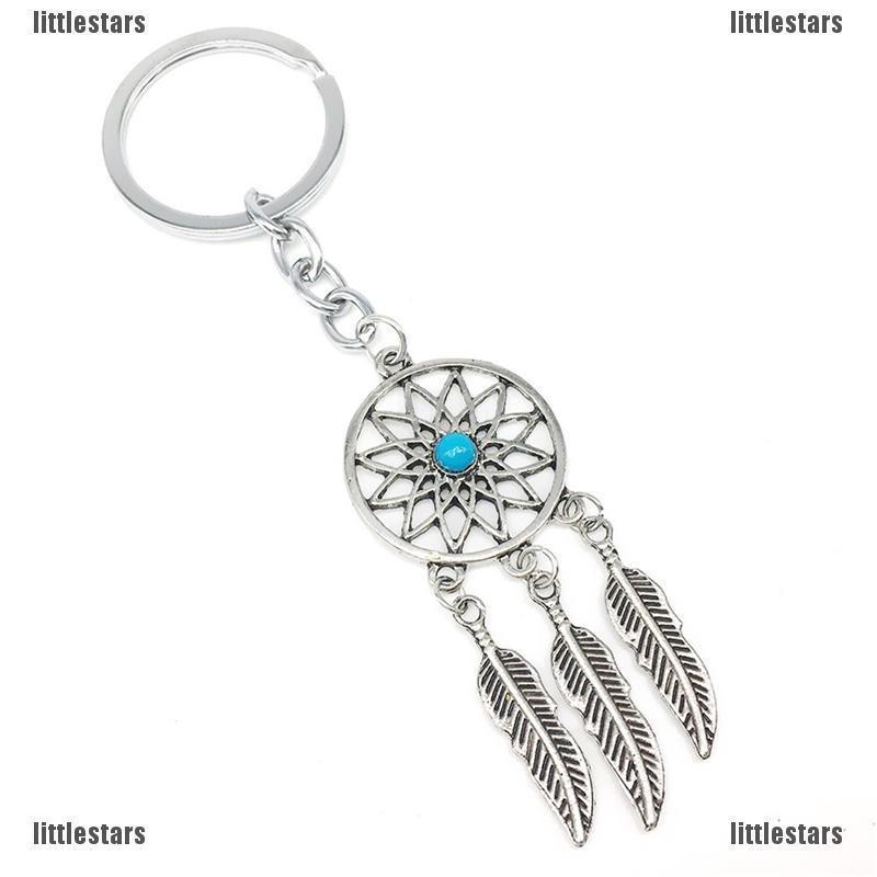 Charm Silver Metal Feather Tassels Key Chain Ring Dream Catcher Keyring Keychain