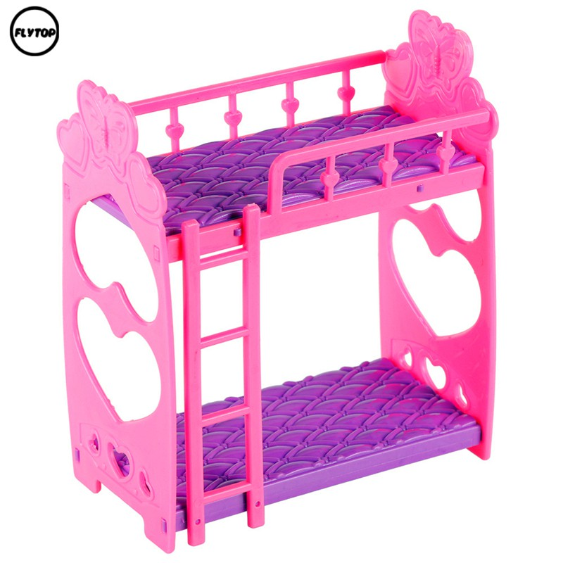 Plastic Double Bed Doll Bedroom Furniture Accessories For Kelly Barbie Doll Gift