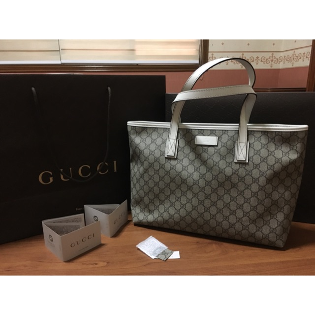 af85fe53c46454 Gucci beige/green GG Supreme coated canvas tote bag | Shopee Philippines