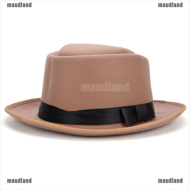 【maud•AND】Men Women Vintage Boater Hat Sailor Wide Brim Fedora Felt Tr