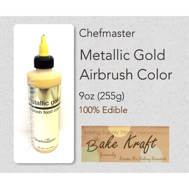 Metallic Gold Airbrush Food Color by Chefmaster 9oz (255g)