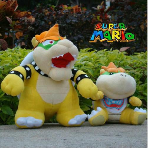 2Pcs Super Mario Bros Plush Toy Bowser Koopa /& Bowser Jr Cute Stuffed Animal