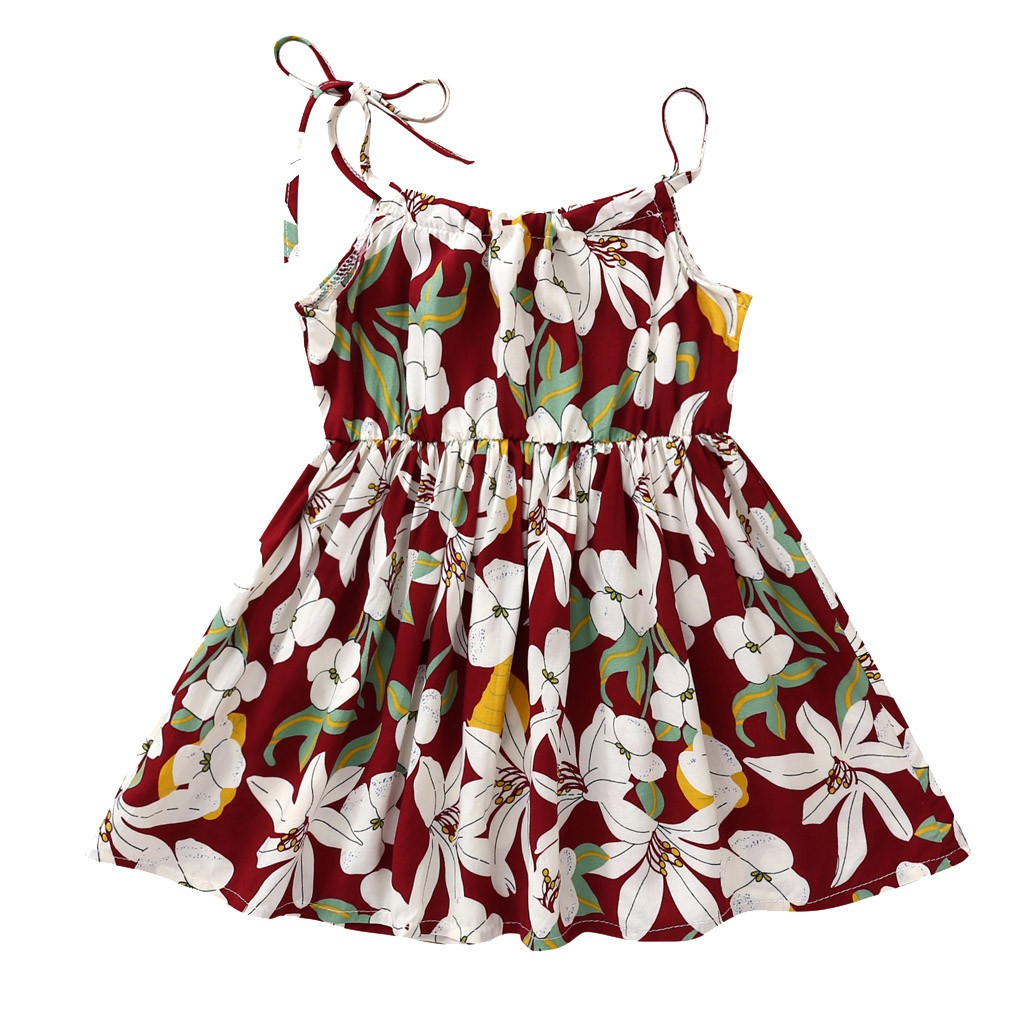Toddler Baby Girls Princess Floral Sunflower Beach Party Fashion Dress Clothes
