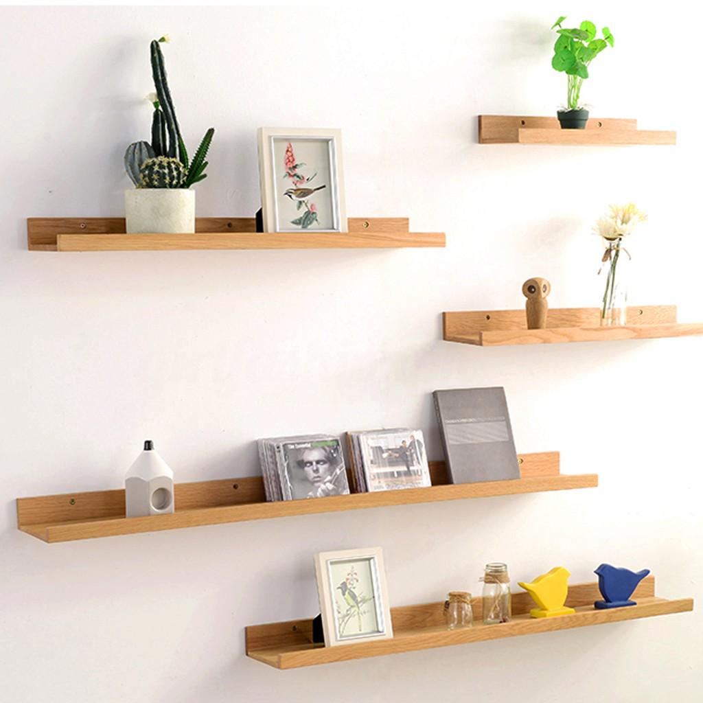 Vintage Retro Bamboo Wooden Wall Floating Shelf Stor_GF