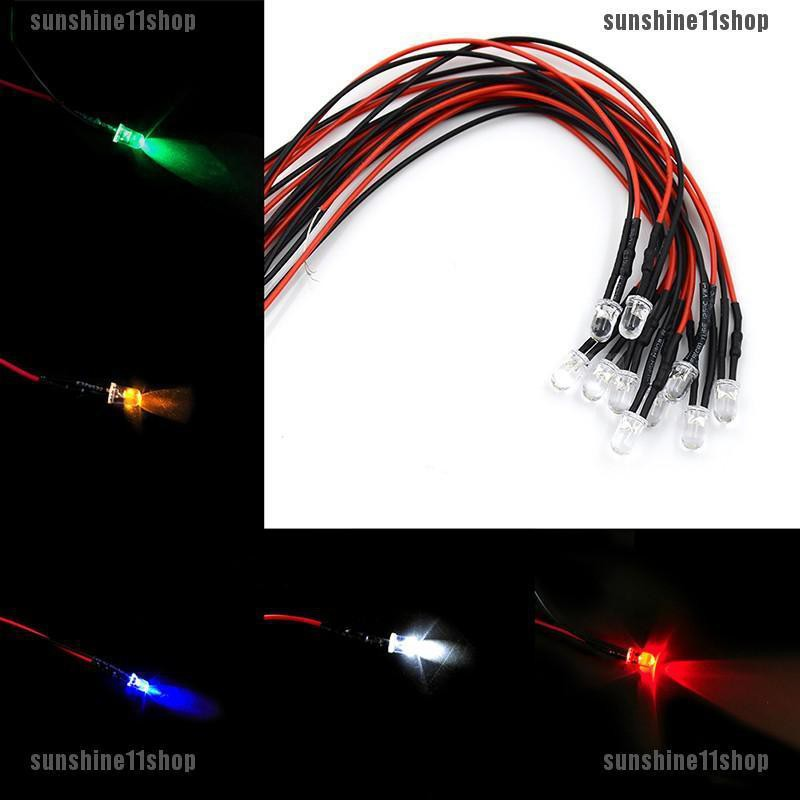 1-100Pcs 12V 5MM LED Diode Light Clear 20cm Cable Pre-Wired With Plastic Holder