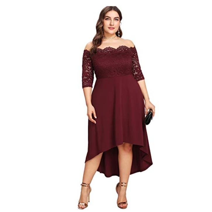 b3af53e6c4ffa Plus Size Vintage Lace Dip High Low Cocktail Party Dress
