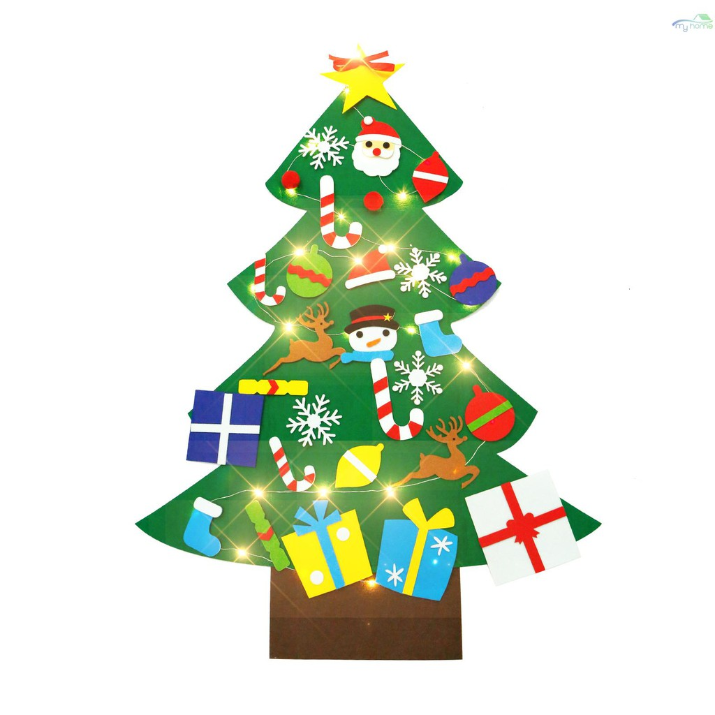 Diy Felt Christmas Tree With Light Strip Xmas Ornaments Diy Christmas Tree Wall Hanging Xmas Gifts Christmas Decorations Shopee Philippines