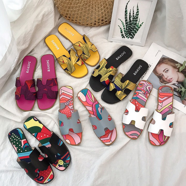 H-type Women's Slippers Fashion Versatile Flat-bottomed Printed Slippers  Trend Beach Slippers | Shopee Philippines
