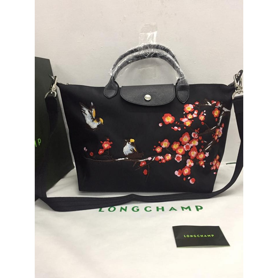 f98725a8e673 Longchamp Le Pliage Neo Embroidered Birds Pattern Medium Bag ...