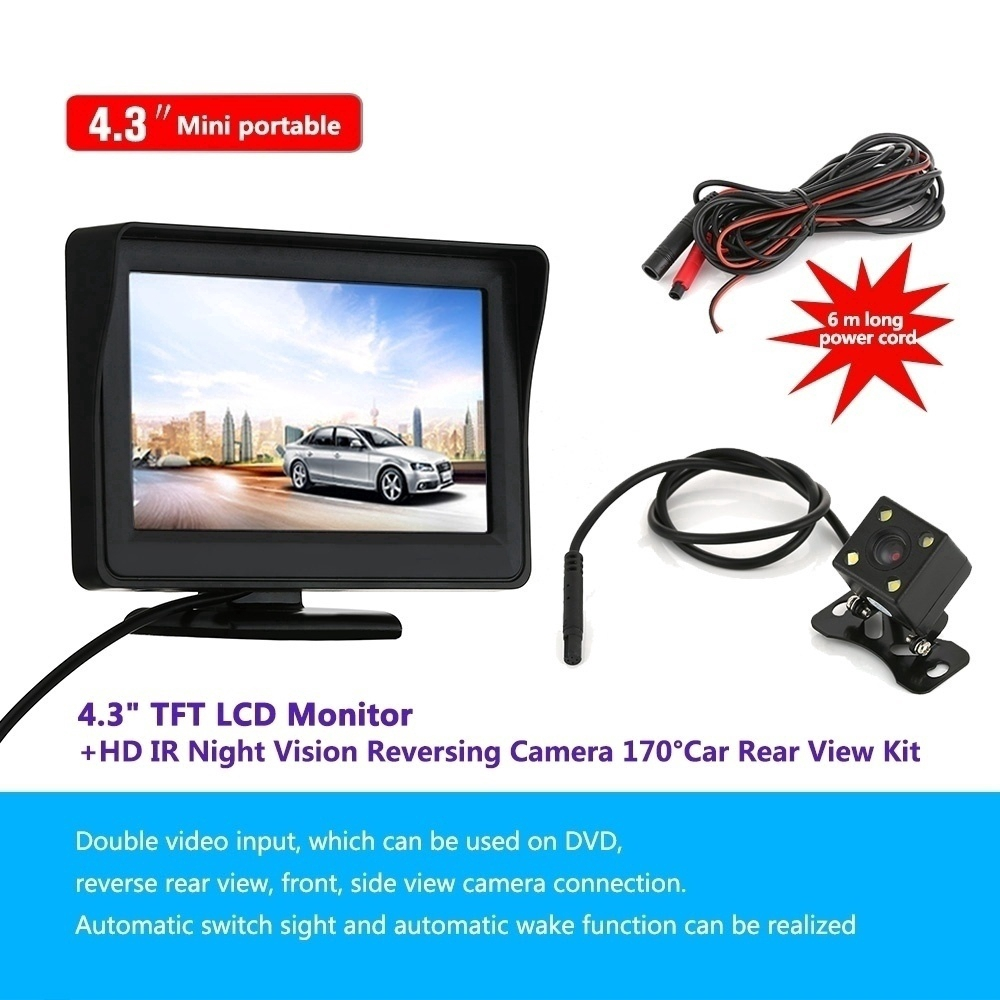 2-in-1 LCD Car SUV Reverse Parking Radar Sensor Car Rear View Backup Camera HM