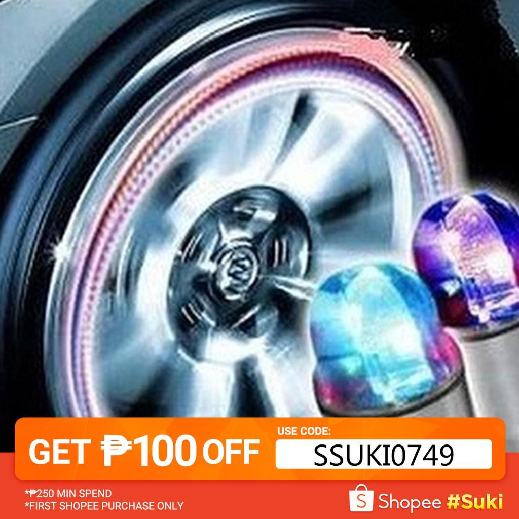 2x Skull Flashing LED Valve Cap Light Neon Wheel Spoke Tire Tyre Motorcycle TS